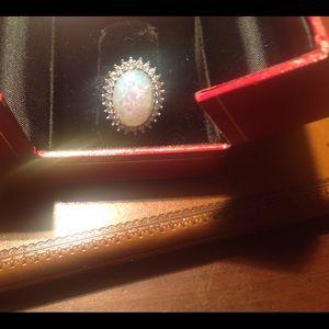 925 silver fire opal size 9